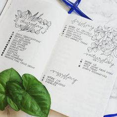 Bullet journal daily layout, cursive date headers, floral drawing, plant drawing, flower drawing. | @bullet_bec