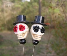 Day of the Dead Lapel Pin Groom Groomsmen Top Hat by shabbyskull