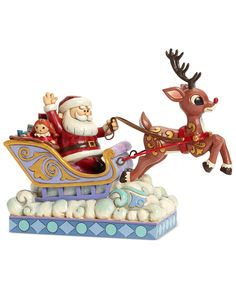 Jim Shore Rudolph Pulling Sleigh Collectible Figurine - Holiday Lane - Macy's $65.00 #Rudolph