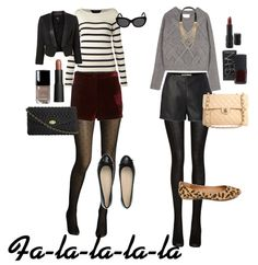 GGM:  Winter short Outfit 1: Suade maroon shorts with a stripy jumper and tights, add a black blazor for extra warmth. Flat or heels depending on your comfort Outfit 2: Leather shorts, grey jumper, tights and statement necklace with leopard shoes