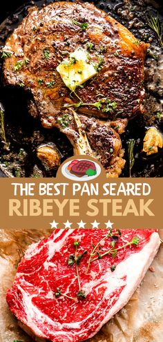 Tender and delicious Ribeye Steak cooked to a juicy perfection! Seasoned with fresh herbs, then cooked in a cast-iron skillet and basted with garlic butter, everyone will love this easy steak recipe! Steak In Iron Skillet, Cast Iron Skillet Meals, Cast Iron Skillet Steak, Beef Ribeye Steak Recipe, Pan Cooked Steak, Cooking Ribeye Steak, Steak Dinner Recipes, Good Steak Recipes, Skillet Recipes
