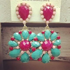 Pink and Teal Earrings