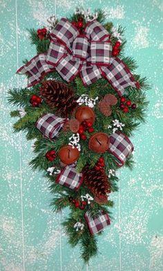 Christmas Teardrop Swag Christmas Wreath Country Wreath | eBay