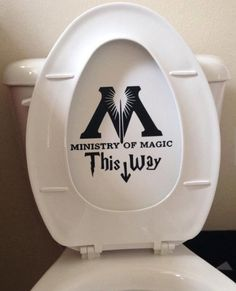 Magical Gift Ideas Harry Potter Fans Will Love This Ministry of Magic bathroom toilet decal sticker is a cheap and funny parody of Harry Potter .This Ministry of Magic bathroom toilet decal sticker is a cheap and funny parody of Harry Potter .