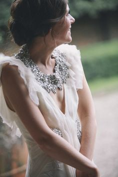 Chunky Necklace with a simple deep v wedding gown