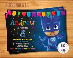 Invitación de Catboy Catboy PJ máscaras por TomasinaPartyDesign