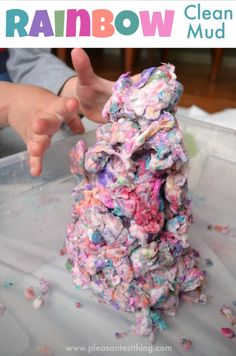 Rainbow dough! Make colorful clean mud!
