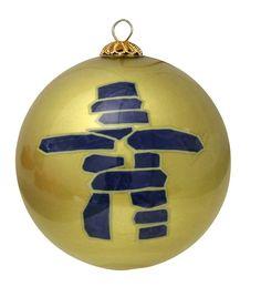 Inukshuk Glass Ornament - Gold
