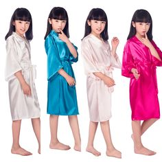 D16811 2016 Satin Pajama Kid / Children Sleepwear Wedding Flower girls Gown High Quality Kimono Robes Solid Color Nightgown