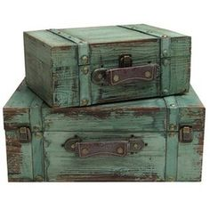 Turquoise Solid Wood Rectangle Trunks with Lining