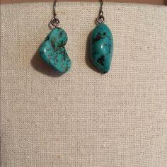 Turquoise unique earrings Turquoise earrings. Never worn! Jewelry Earrings