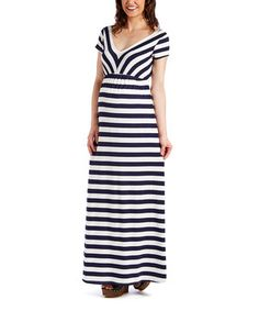 Loving this Mom & Co. Navy & Ivory Stripe Cutout Maternity Maxi Dress on #zulily! #zulilyfinds