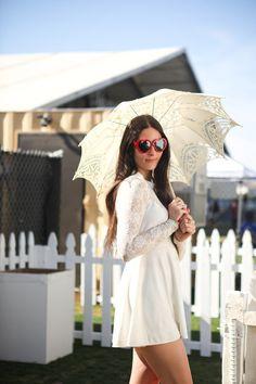 Coachella 2013 - It's A Dull Life Vogue Fashion, Fashion Photo, Female Fashion, Coachella 2013, Coachella Style, Coachella Festival, Rehearsal Dinner Outfits, Lace Dress, White Dress