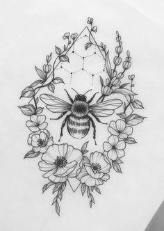 Cat Portrait Tattoos, Tattoo Drawings, Pretty Tattoos, Love Tattoos, Bee And Flower Tattoo, Honey Bee Tattoo, Becoming A Tattoo Artist, Chic Tattoo, Bestie Tattoo