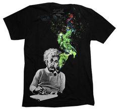 Albert Einstein Smoking Colors Men's Black T-Shirt XL