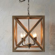 Wood and Metal Square Chandelier - I wonder how easy it would be to build a wooden frame around a chandelier...