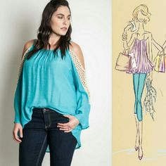 Catch My Drift Cold Shoulder Top 60% Cotton 40% Polyester Open-shoulders with adjustable spaghetti straps Loose-knit crochet sleeve panels High neckline Hand wash cold, hang to dry Tops Blouses