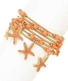 Gold & Peach Starfish Stretch Bracelet Set