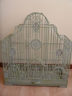 "Vintage painted wrought iron bird cage 27"" High X 24"" Wide X 12"""
