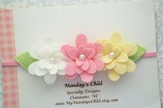 Felt Flower Headband Felt Flower Garland by MyMondaysChild on Etsy