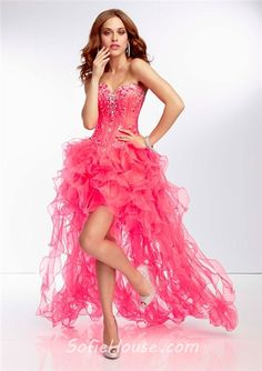 c477d30000af Fashion High Low Sweetheart Neon Orange Organza Ruffle Beaded Prom Dress  Corset Back