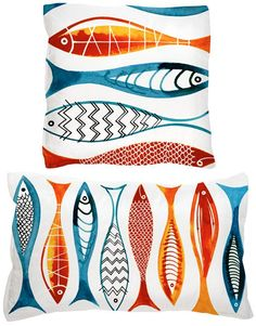 Margaret Berg Art: Simple+Fishies+(Red)+Pillow