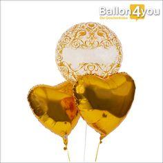 Bubble Ballon zur Hochzeit mit goldener Verzierung und 2 Herzballons  Diese goldene Überraschung eignet sich ideal zu Hochzeiten und runden Hochzeitstagen. Die zwei Herzballons haben wir in edles Gold gehüllt. Der heliumgefüllte Ballongruß geht dann an Ihre Wunschadresse.