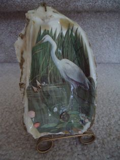 OYSTER SHELL With Florida Egret and Attached Stand - Vintage | eBay