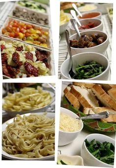 "Pasta bar: spag-ood-ti and spheres, bow tie pasta & ""custard"" sauce"