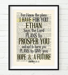 For I know the plans I have for you Jeremiah 2911 Christian UNFRAMED reproduction Art PRINT Vintage Bible verse scripture wall home decor poster Inspirational gift inches -- You can get more details by clicking on the image. Bible Verse Art, Bible Scriptures, Biblical Verses, Beautiful Words, Oldest Bible, I Know The Plans, Jeremiah 29, Life Quotes Love, King James Bible