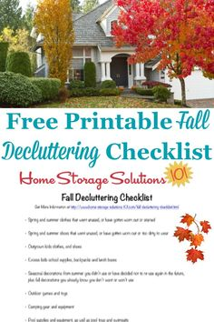 Here is a free printable fall decluttering checklist that you can use to get rid of around your home when autumn begins on Home Storage Solutions 101 Declutter Home, Declutter Your Life, Decluttering, Fall Checklist, Household Notebook, Household Tips, Clutter Control, Getting Rid Of Clutter, Home Storage Solutions