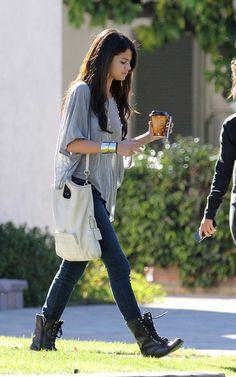 Selena Gomez lace up combat boots   Possessionista Celebrity StylePossessionista Celebrity Style