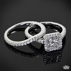 """White Gold """"Amphora for Princess"""" Diamond Engagement Ring and Diamond Wedding Ring perfect set love (if only) Diamond Wedding Sets, Wedding Band Sets, Halo Engagement, Diamond Engagement Rings, Cheap Wedding Rings, Wedding Jewelry, Diamond Are A Girls Best Friend, White Gold, Bling"""