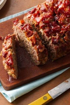 Meat loaf with all the delish flavor of a bacon cheeseburger - just top slices with ketchup, mustard and relish!
