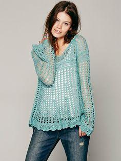 Free People Annabelle Crochet Pullover ♪ ♪ ... #inspiration_crochet #diy GB http://www.pinterest.com/gigibrazil/boards/