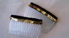 Christmas Hair combs small holiday black and gold sequined fashion combs  Hair accessories by DKKustomDesignz on Etsy