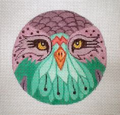 Handpainted Purple and Aqua Owl needlepoint canvas by colors1 (Craft Supplies & Tools, Sewing & Needlecraft Supplies, Canvas & Stitchables, ornament, pattern, embroidery, cross stitch, needlecraft, owl, needlepoint, needlepoint canvas, needlepoint pillow, needlepoint pattern, funny needlepoint, bird, wildlife)