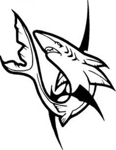 Great White Shark Stencil Blue Shark Clip Art Vector