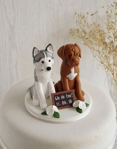 Two Dog Cake Topper Custom Two Dog Topper Dog by TiaLovesArchie