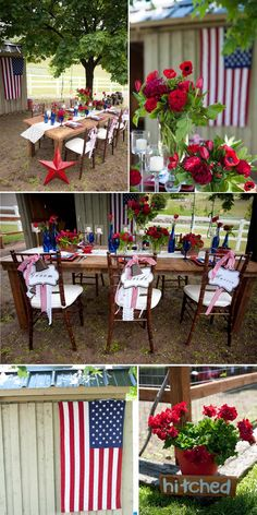 red, white, blue wedding or just ideas for a party