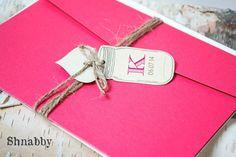 Pocket Fold Rustic Invitation Twine Wedding Invitation by Shnabby