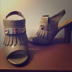 """COACH 'Renita' peep-toe sandal COACH 'Renita' sandal. Feathered grey. Chunky goldtone  logo hardware, slingback, 4"""" heel. Classy & sophisticated. Only wore ONCE! Too small on me. Coach Shoes Sandals"""