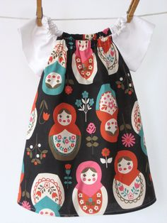 Small Matryoshka - Peasant dress in Kokka import with white raglan sleeves - Sizes 6m, 12m, 18m, 2T, 3T, 4. $39.00, via Etsy.