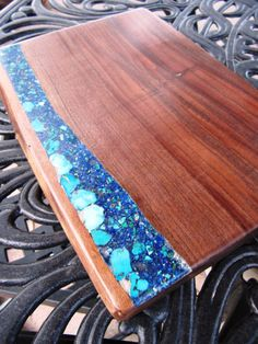 Wood cutting board Figured Black Walnut with by Inlaidwoods  Love the inlay