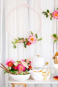 Excited to be sharing a super easy tutorial for a DIY Floral Embroidery Ring Backdrop. It's the perfect solution for a last minute addition to your party!