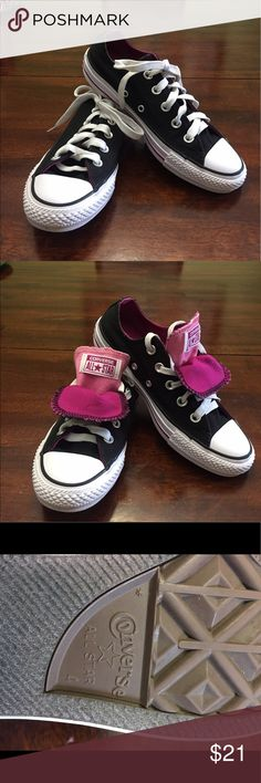 Converse Black and Purple . Double flapped Thy are in great condition. Feel free to make an offer !!! Converse Shoes Sneakers
