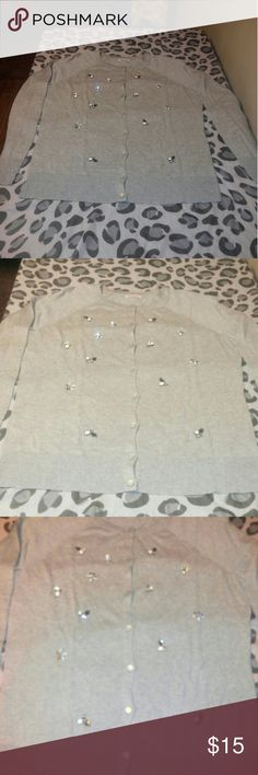 Mossimo beaded/jeweled gray cardigan Large beautiful jeweled cardigan, never worn, to big for me. Mossimo Supply Co. Sweaters Cardigans