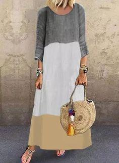 Plus Størrelse Color Block ærmer Maxi Kjoler Long Sleeve Short Dress, Maxi Dress With Sleeves, Patchwork Dress, Fashion Seasons, Fashion Prints, Neue Trends, Types Of Sleeves, Plus Size Dresses, Casual Dresses