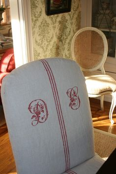 Beautiful Raspberry Monogrammed Dining Chair