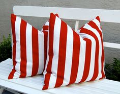 Etsy Decorative Pillows Red and White Awning Stripe Throw Pillow Covers
